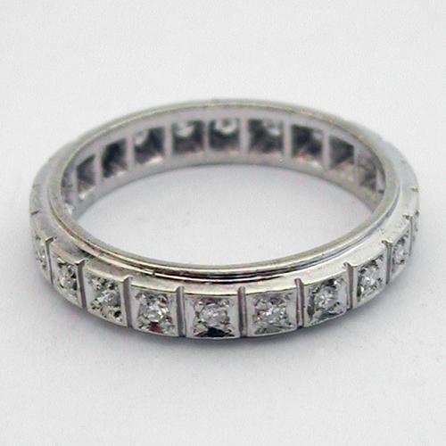 Bague or gris diamants - Alliance 372 : Bijoux anciens Paris Or
