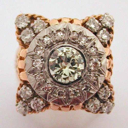 bague diamants or platine ancienne pyramides 178 bijoux anciens paris or. Black Bedroom Furniture Sets. Home Design Ideas