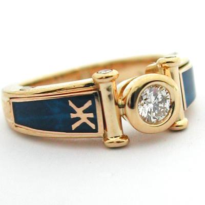 Cliquer pour agrandir, Bague KORLOFF en or diamants et laque bleue. Cliquer  pour agrandir