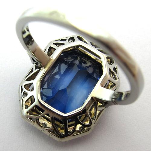 Assez Bague ancienne pierre bleue diamants or platine 908 : Bijoux  CZ04