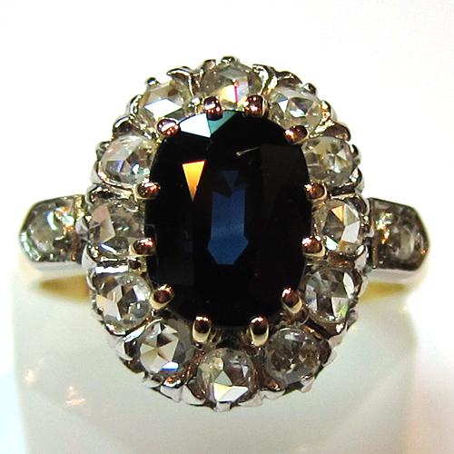 bagues de fiancailles anciennes bague fleur saphir diamant 936 bijoux anciens paris or. Black Bedroom Furniture Sets. Home Design Ideas