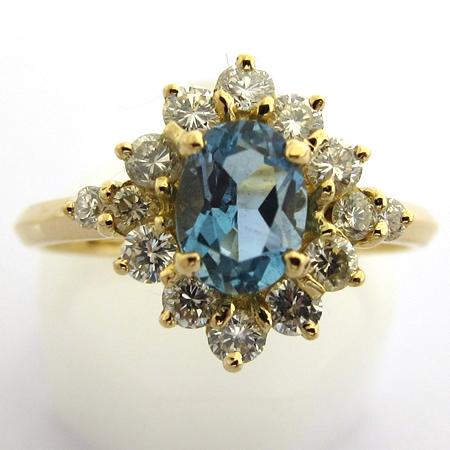 bague or aigue marine diamants 817 bagues de fian ailles bijoux anciens paris or. Black Bedroom Furniture Sets. Home Design Ideas
