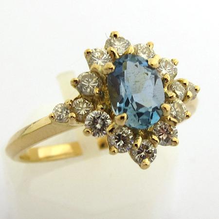 Fabuleux Bague or aigue-marine diamants 817 - Bagues de fiançailles  VW33