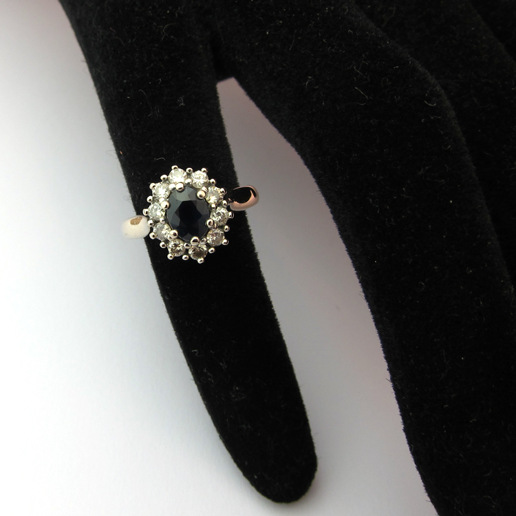 Turbo BAGUES DE FIANCAILLES VINTAGE - Bague or blanc saphir diamants 927  IX86