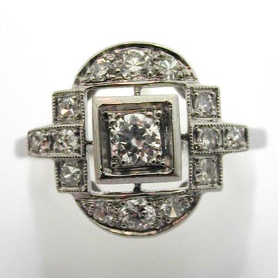Souvent Bague ancienne platine diamants 536 – Bijou Art Déco : Bijoux  CG42