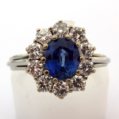 joaillerie occasion paris bague or blanc saphir diamants 674 bague de fian ailles bijoux. Black Bedroom Furniture Sets. Home Design Ideas