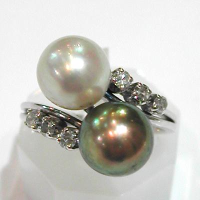 bague or blanc perle de culture diamants 613 bagues modernes occasion toi et moi bijoux. Black Bedroom Furniture Sets. Home Design Ideas