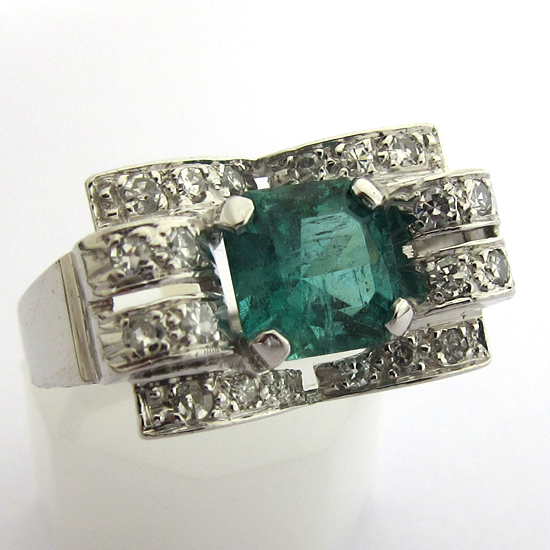 Super Bague platine émeraude diamants 829 - Bijou art déco : Bijoux  IK44