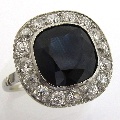 bague ancienne platine saphir diamant 839 bijou art d co bijoux anciens paris or. Black Bedroom Furniture Sets. Home Design Ideas