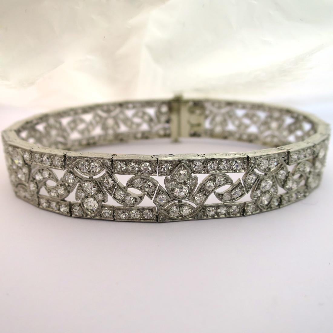nouveaux articles meilleurs tissus meilleur fournisseur Bracelet art déco en platine et diamants 178 – Bijou d'exception [Brac 178]