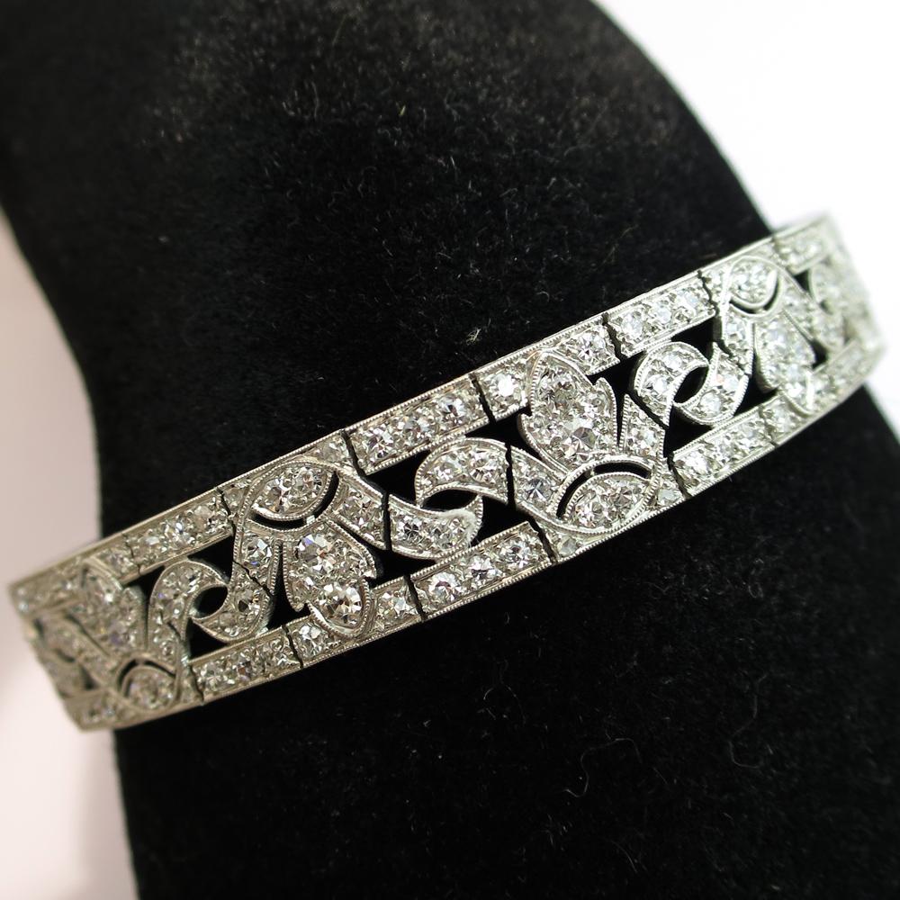 Extrêmement Bijoux anciens d'exception à Paris - Bracelet art déco en platine  YA68
