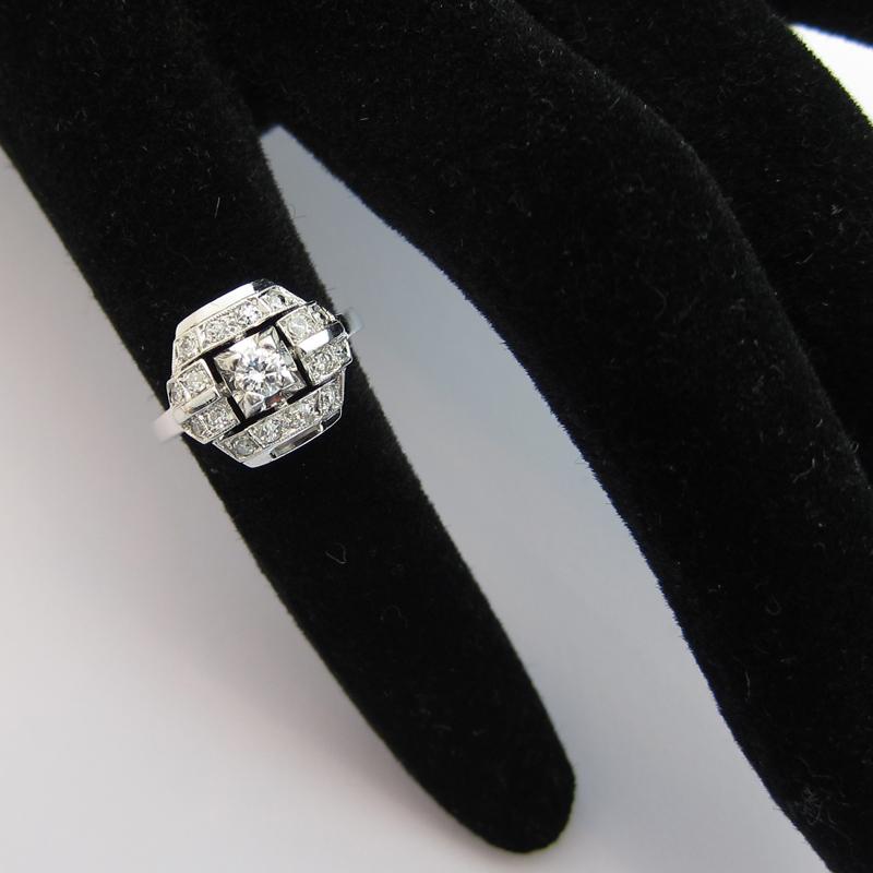 Super Bijoux art déco - Bague art déco platine diamants 971 - Bijoux  DZ55