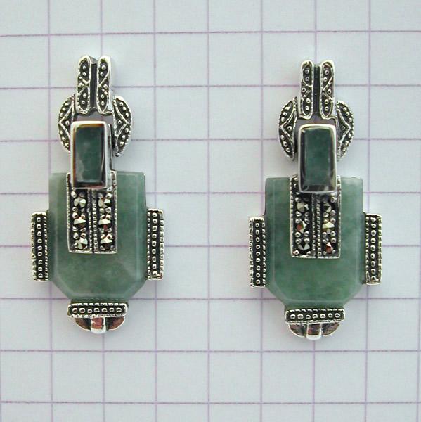 Super Boucles d'oreilles argent jade marcassite 37 - Style Art Déco  IK44
