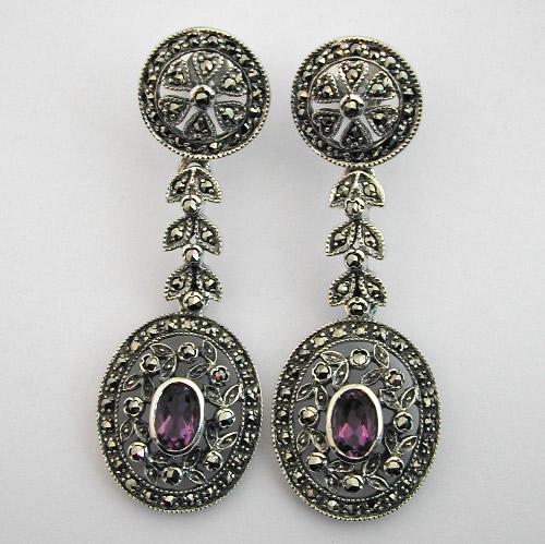 boucles d oreilles argent am thyste marcassite 41 bijoux anciens paris argent. Black Bedroom Furniture Sets. Home Design Ideas