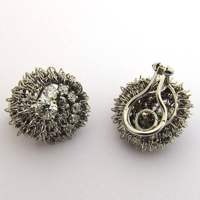 boucles d 39 oreille vintage diamants or blanc 137 bijoux. Black Bedroom Furniture Sets. Home Design Ideas