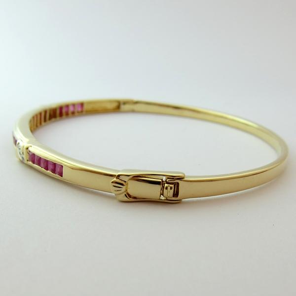bracelet rubis diamants or jaune bracelet jonc 121 bijoux anciens paris or. Black Bedroom Furniture Sets. Home Design Ideas