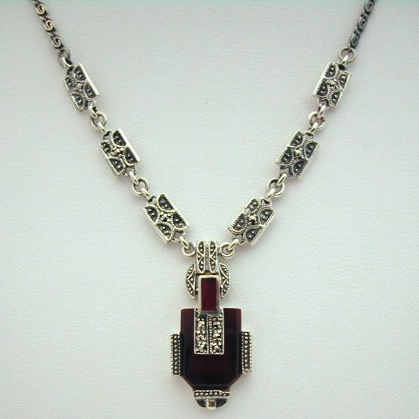 Super Collier argent cornaline marcassite 37 - Style Art Déco : Bijoux  IK44
