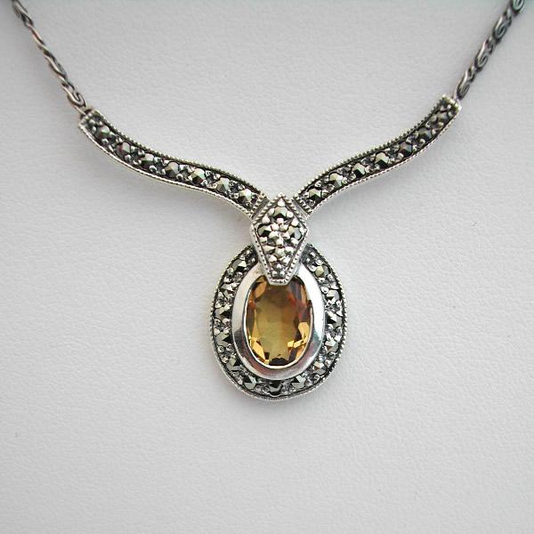 Collier argent citrine marcassite 58 bijou de style art - Boite a bijoux pour collier ...