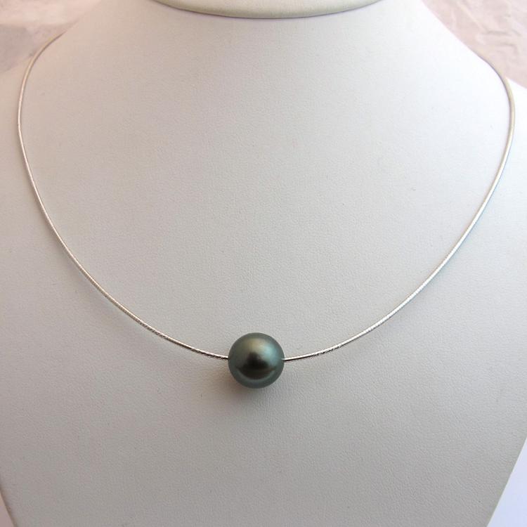 collier perle gris et blanc