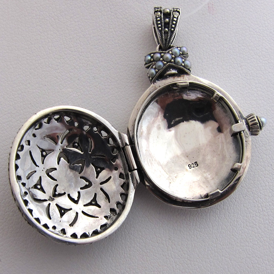 bijoux anciens paris pendentif argent perle marcassite. Black Bedroom Furniture Sets. Home Design Ideas