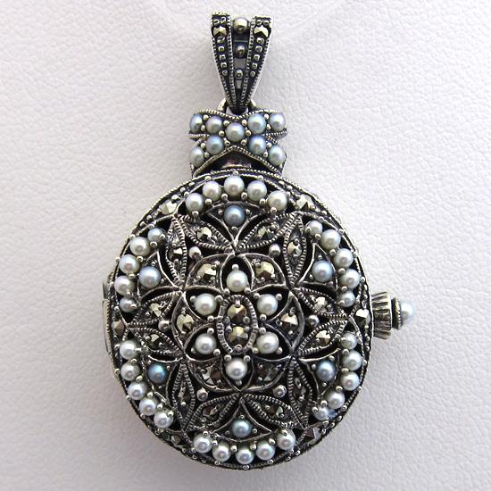 Bijoux anciens paris pendentif argent perle marcassite for Bijoux porte photo