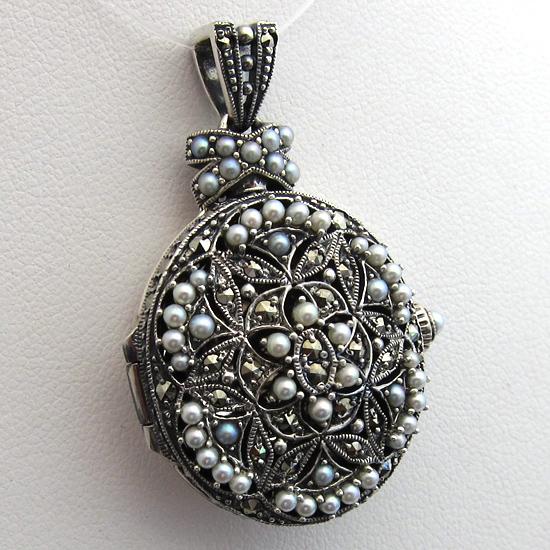 Bijoux anciens paris pendentif argent perle marcassite m daillon porte photo 28 - Pendentif porte photo argent ...