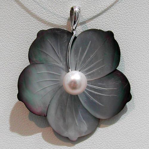 pendentif or nacre et perle de culture d eau douce fleur 100 bijoux anciens paris or. Black Bedroom Furniture Sets. Home Design Ideas